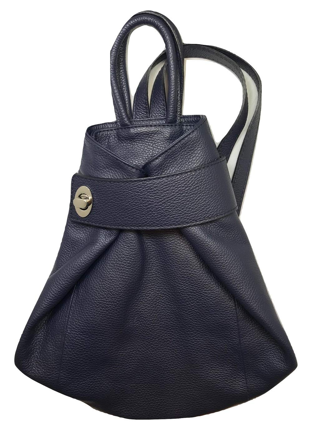 LaGaksta Stella Italian Leather Backpack Convertible Top Handle Purse Medium Blue