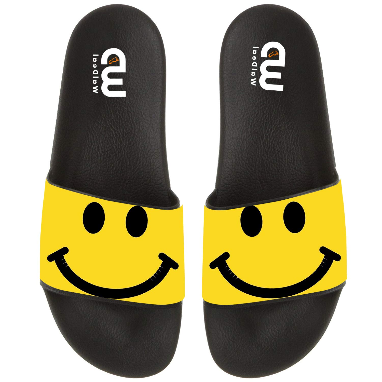 Cartoon Yellow Happy Smiley Face Summer Slide Slippers For Men Women Kid Indoor Open-Toe Sandal Shoes