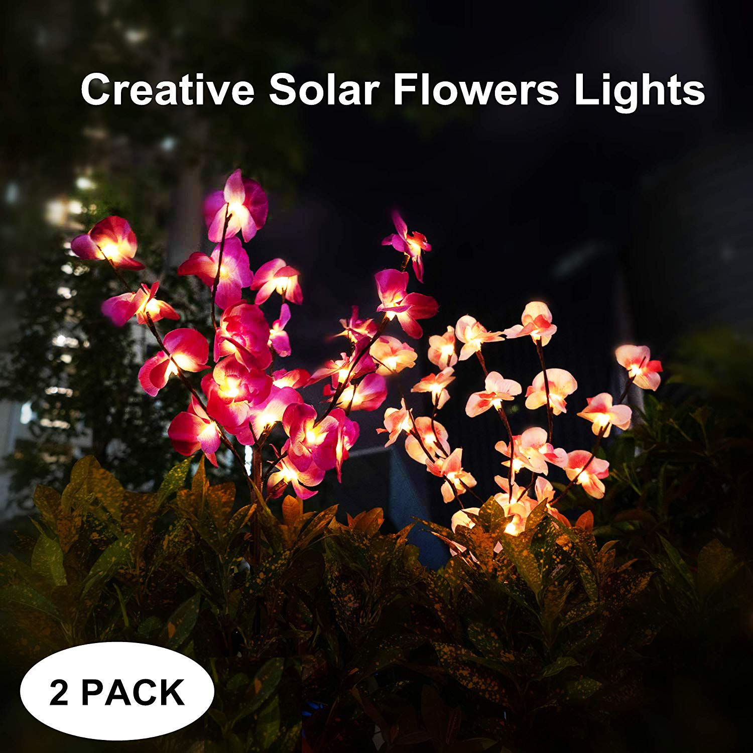 mopha Solar Garden Lights Outdoor Stake LED Flowers Solar Powered Landscape Lights for Pathway,Yard,Patio,Deck,Walkway Christmas Decoration- Two Mode Solar Flowers Lights by mopha