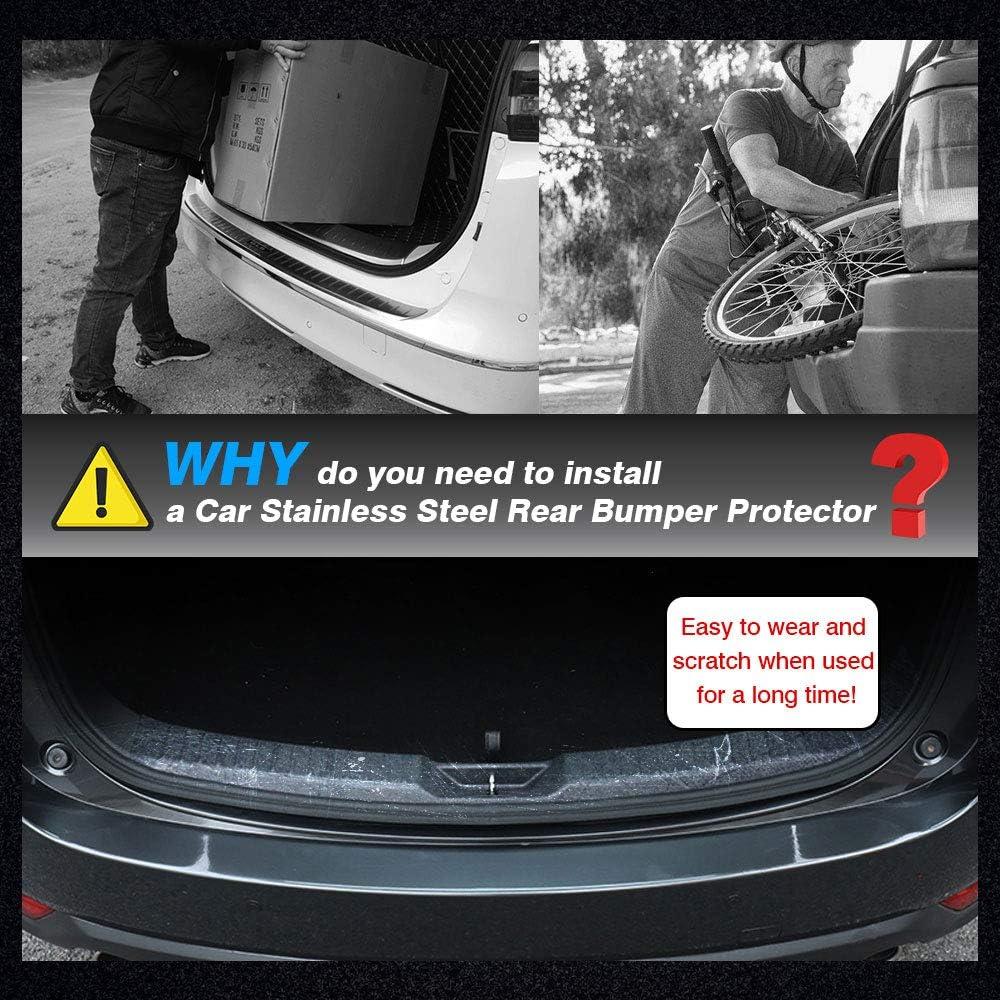 Model 3 Car Front Rear Trunk Guard,Chrome Trim Insert,Inner Carbon Fiber Look Stainless Steel Rear Bumper Protector,3 Pack