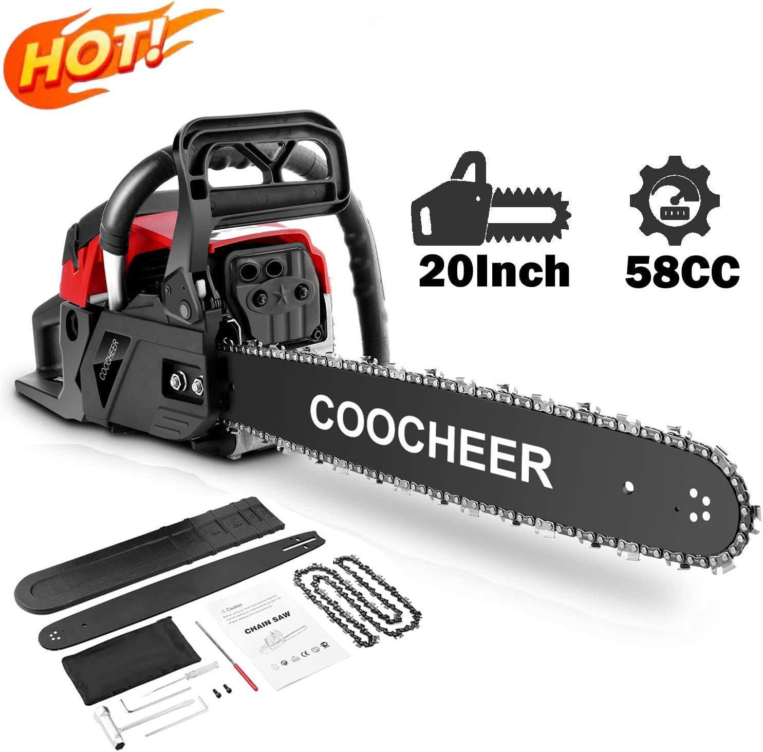 attempting 58CC Gas Engine 20 Inch Guide Board Chainsaw 2 Stroke Gasoline Powered Handheld Chain Saw with Tool Kit Red