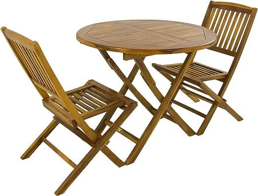 Edenjardi Conjunto de Exterior, Mesa Redonda 90 cm y 2 sillas ...
