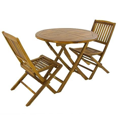 Edenjardi Conjunto de Exterior, Mesa Redonda 90 cm y 2 sillas Plegables, Madera Teca Grado A, Tratamiento al Agua aplicado