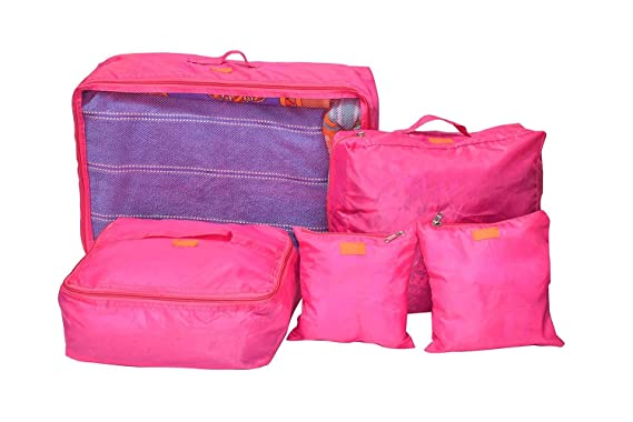 EVANA Set Of 5 Travel Bag Organizer, luggage Organiser  Pink   Color as available