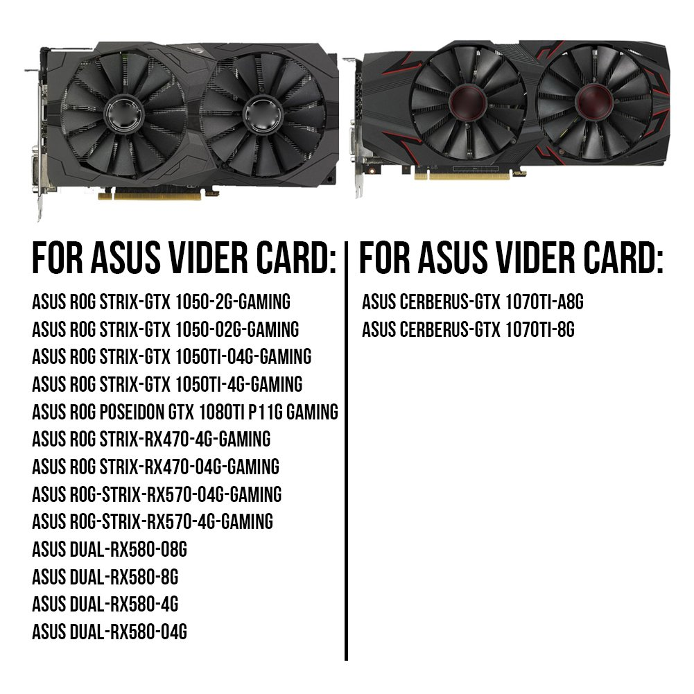 with Thermal Paste PLD10010S12H 95mm 12V 0.30AMP Graphics Card Cooling Fan For ASUS ROG STRIX GTX 1050 1050Ti RX470 RX570 RX580 POSEIDON GTX 1080Ti P11G GAMING CERBERUS-GTX 1070Ti Video Card fans