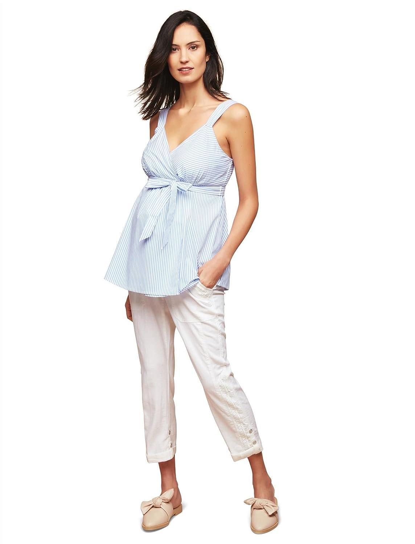 Motherhood Secret Fit Belly Linen Blend Straight Leg Maternity Pants