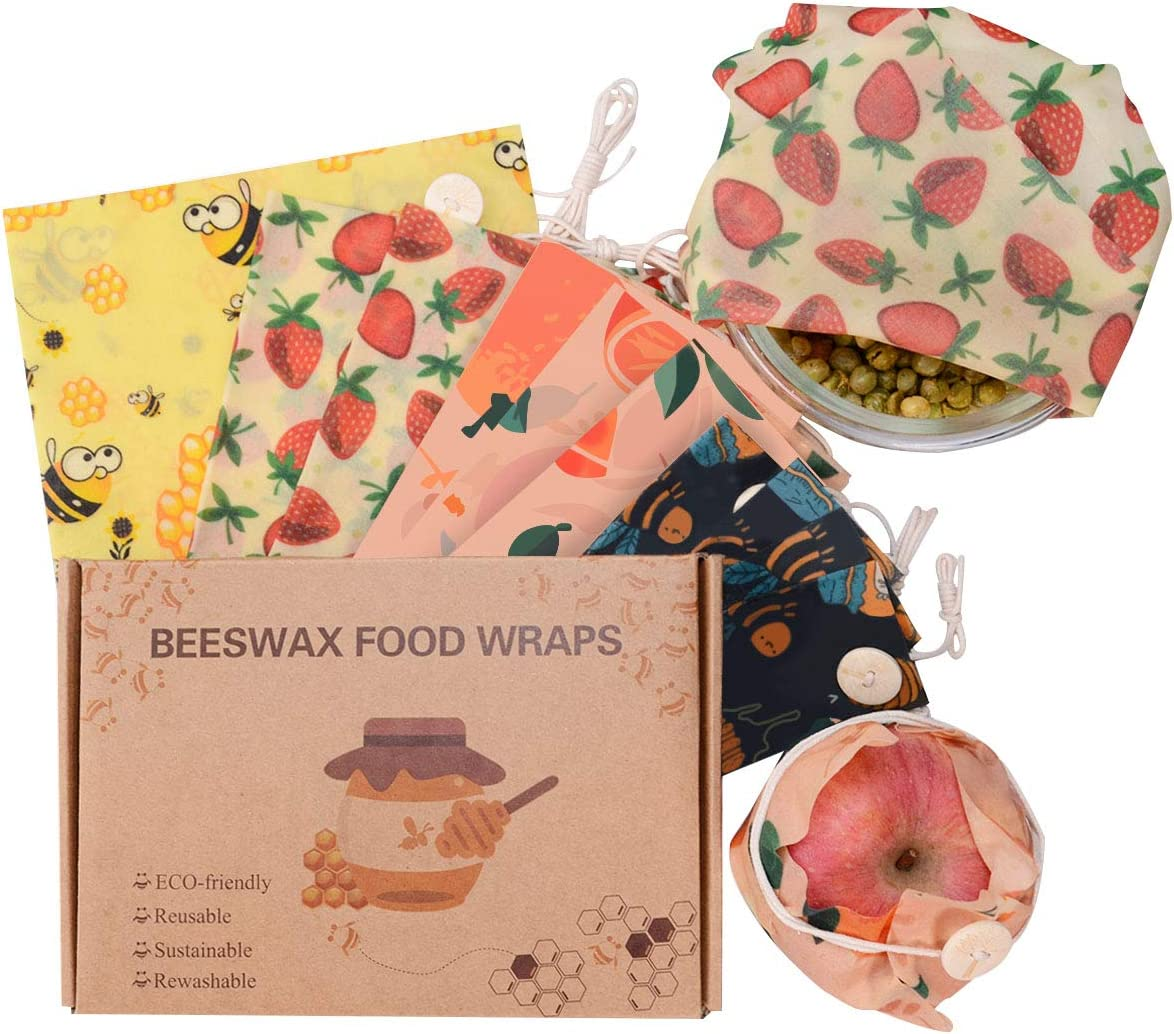 Beeswax Wrap Reusable Food Wraps for Food Storage, 10 Pack Eco Friendly Gifts with Fixed Bundle Rope Plastic Alternatives Fresh Storage of Cheese, Fruits, Vegetables