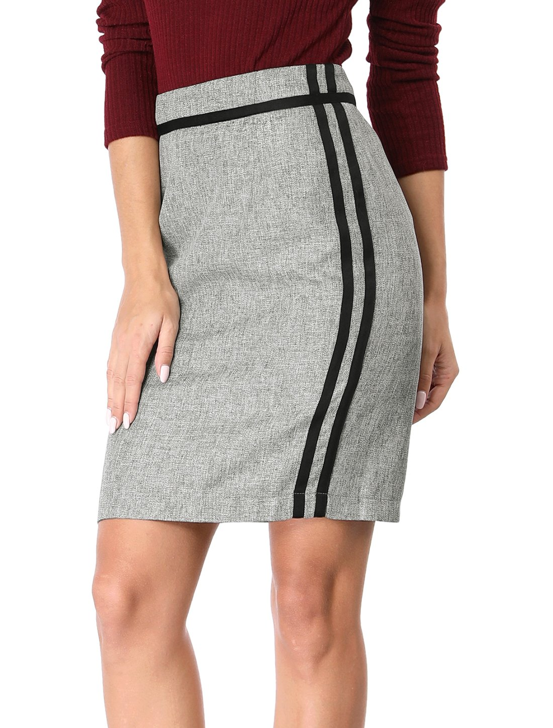 Allegra K Women's Contrast Striped Ribbon Slit Back Pencil Skirt M Grey