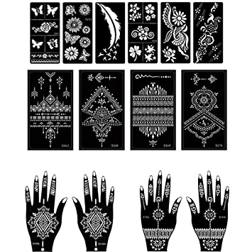 Amazon Com Henna Tattoo Stencil Temporary Tattoo Temples Set Of 14 Sheets Indian Arabian Tattoo Reusable Stickers Stencils Body Art Designs For Hands Body Beauty