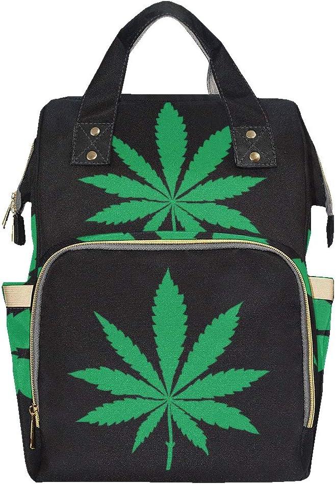 Marihuana Hoja de cannabis Elegante bolsa de pañales Mochila Mamá Papá Cambio de gran capacidad Bolsa de pañales multifunción Mochila de pañales para bebé niña