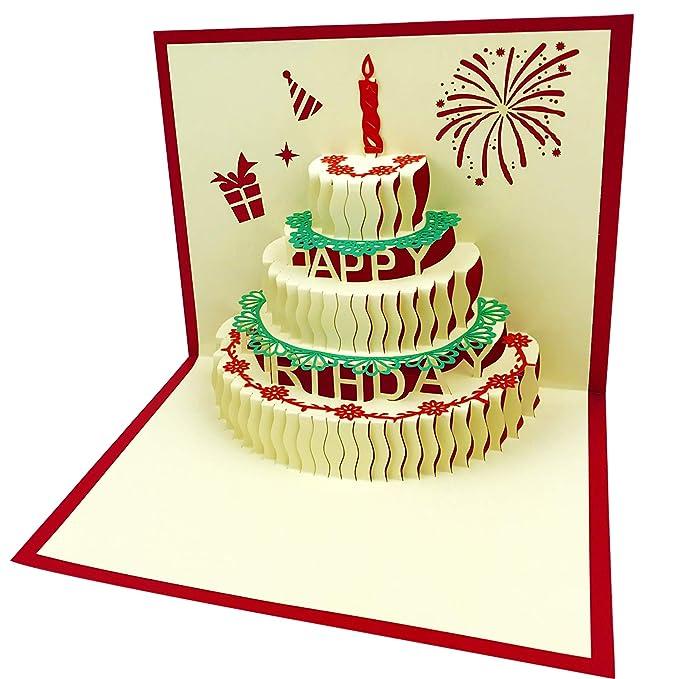 Amazon.com: 3d Pop Up Tarjetas de cumpleaños hecha a mano de ...