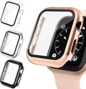 Goosehill 4 Pack Case for Apple Watch 44mm Built-in Tempered Glass Screen Protector, Slim Guard Bumper Full Coverage HD Ultra-Thin Cover Compatible with iWatch 44mm Series 6/5/4/SE