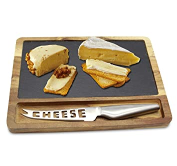 Acacia Bois & Natural Plateau ardoise à fromage plaque Avec ...
