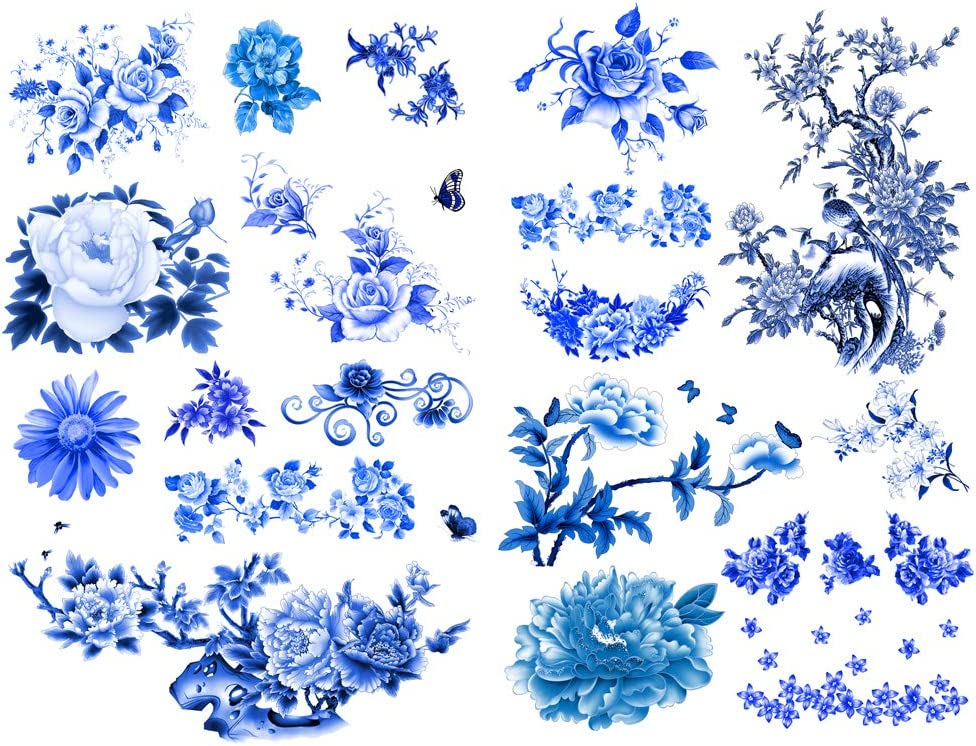 Seasonstorm Blue China Ink Painting Aesthetic Diary Travel Journal Paper Stickers Scrapbooking Stationery School Office Art Supplies