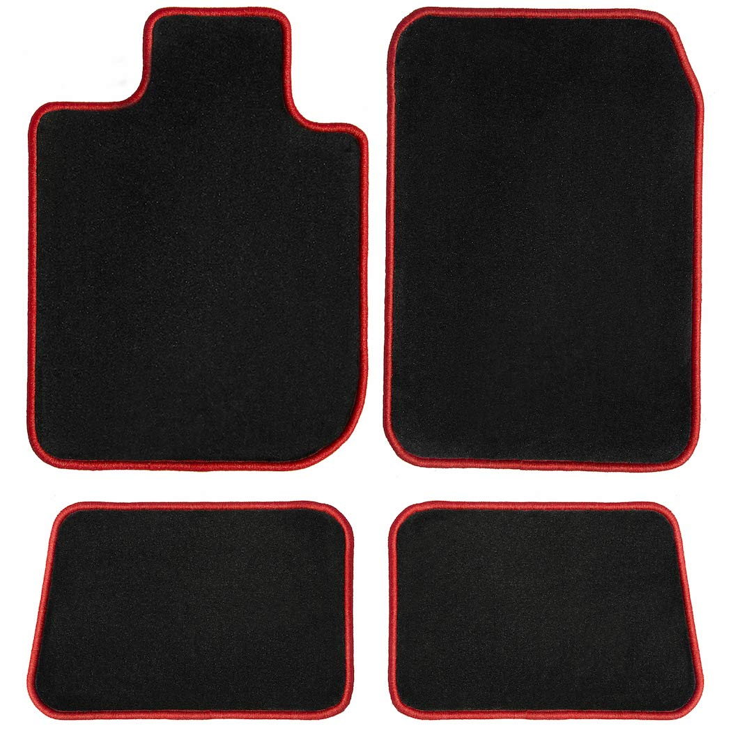 Passenger /& Rear Floor GGBAILEY D51466-S1A-BLK/_BR Custom Fit Car Mats for 2017 2018 2019 Jaguar XE Black with Red Edging Driver
