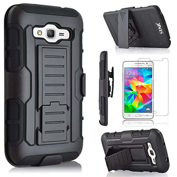 Star Armor Holster Cases Compatible for Samsung Galaxy Grand Prime G530, Dual Layers Kickstand Phone