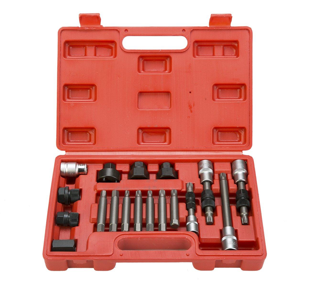 8MILELAKE 18 Pcs Alternator Pulley Service Decoupler Insert Bit Socket Set Tool Kit Car Pulley Removal Decoupling Puller