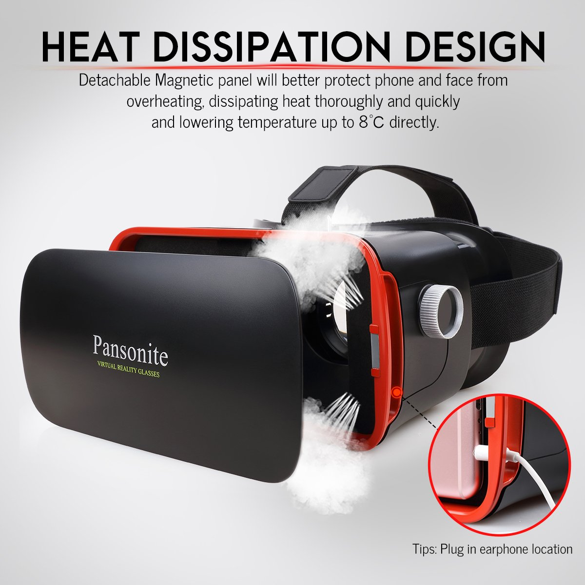 18b9960bad9 Amazon.com  Pansonite 3D VR Glasses Virtual Reality Headset for Games   3D  Movies