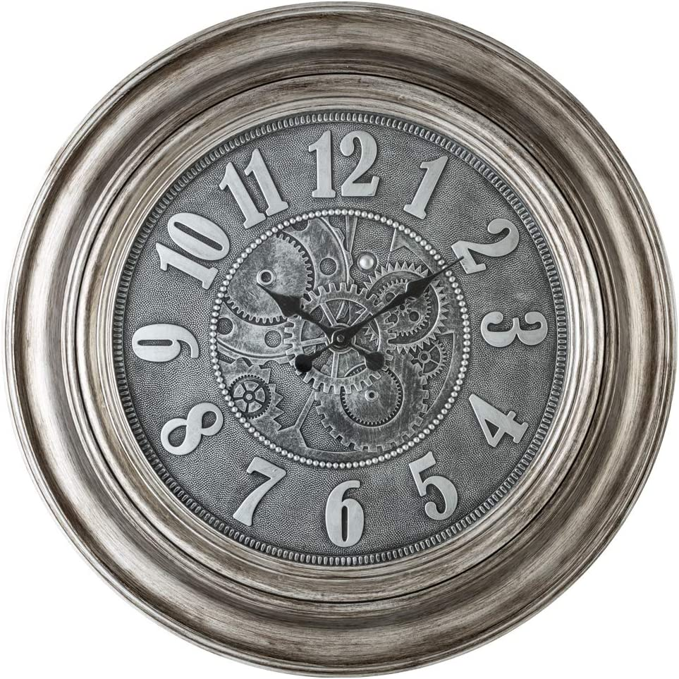 Pacific Bay Aulendorf Giant Decorative Light-Weight 24-inch Wall Clock Silent, Non-Ticking, 3-D Aluminum Dial, Easy-to-Read, Quartz Battery Operated, Glass Face Cover