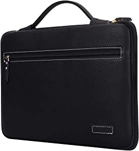 """FYY Laptop Bag for 14""""-15.6"""" Handmade Leather Sleeve Case Protective Bag, Ultrabook Notebook Carrying Case Handbag for All 14""""-15.6"""" Samsung Sony ASUS Acer Lenovo Dell HP Toshiba Chromebook Black"""