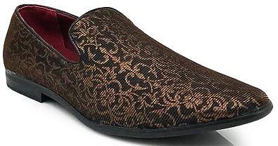 a217bdb2cc911 Amazon.com | Enzo Romeo Spg Men's Vintage Satin Silky Floral Print Dress  Loafers Slip On Shoes Classic Tuxedo Dress Shoes | Loafers & Slip-Ons