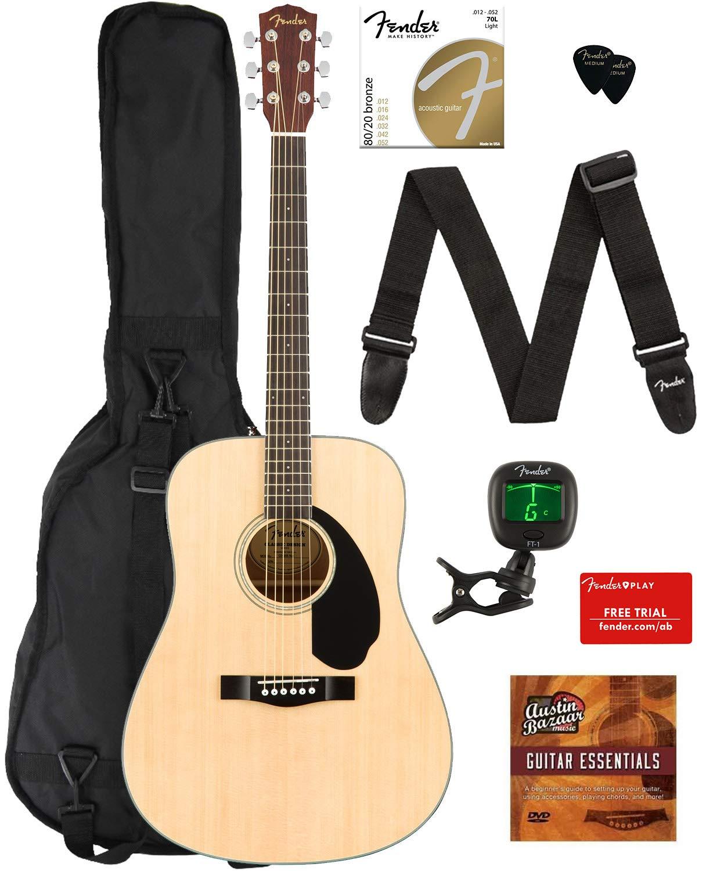 Fender CD-60S Dreadnought Acoustic Guitar - Natural Bundle with Gig Bag, Tuner, Strap, Strings, Picks, Fender Play Online Lessons, and Austin Bazaar Instructional DVD by Fender
