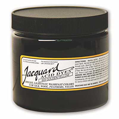 Jacquard Acid Dye for Wool, Silk and Other Protein Fibers, 8 Ounce Jar, Concentrated Powder, Golden Yellow 603