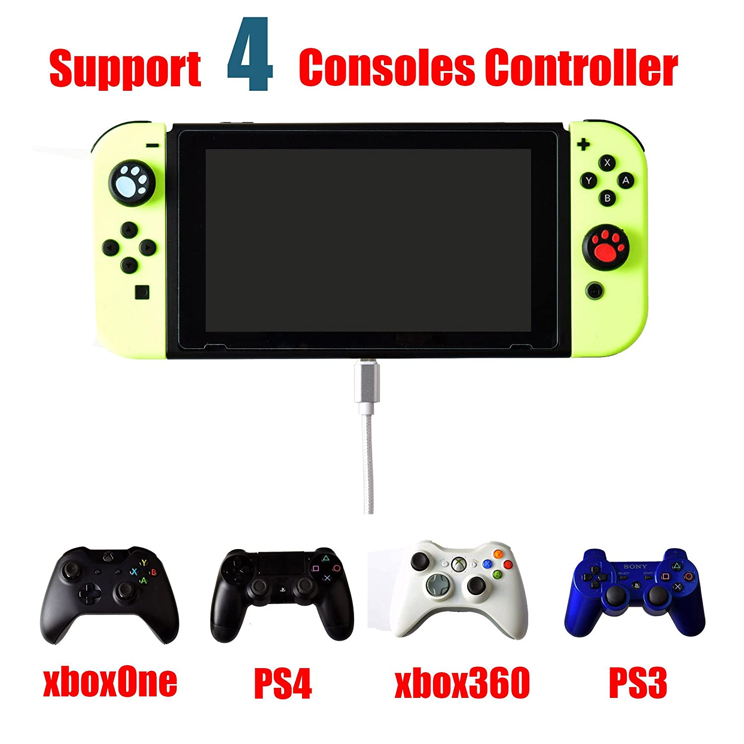 Mcbazel COOV N100 PS4 PS3 Xbox One Xbox 360 Gaming Controller to Switch  Converter with OTG Adapter Cable
