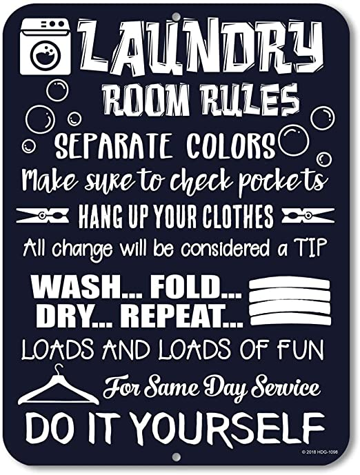 Amazon Com Honey Dew Gifts Laundry Room Decor Laundry Room Rules 9 Inch X 12 Inch Novelty Tin Funny Laundry Signs Home Kitchen