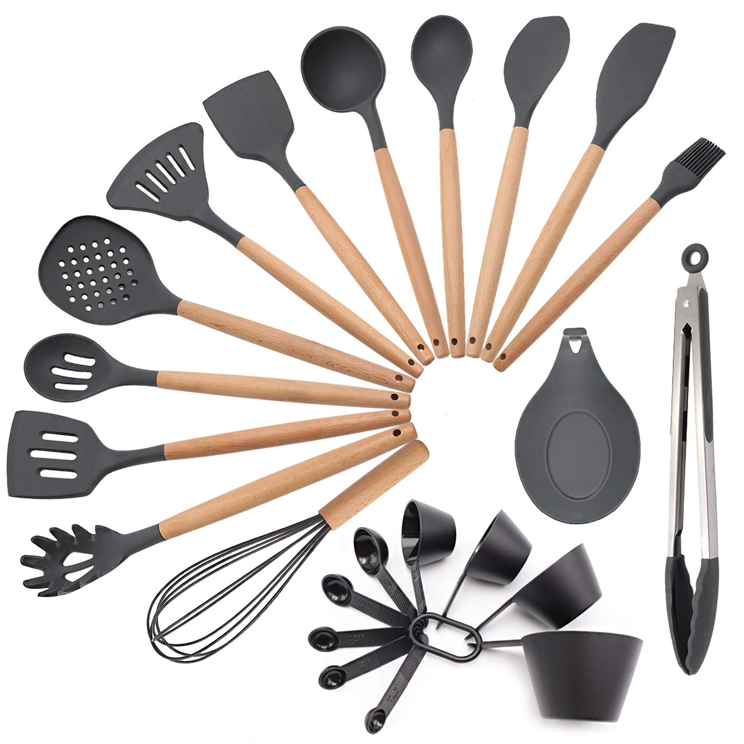 To encounter 23 Pieces Kitchen Utensil Set Silicone Cooking Utensils Kitchen Gadgets for Nonstick Cookware Set Wooden Handles BPA Free Non Toxic Silicone Turner Spatula Set - Hand Wash by To encounter