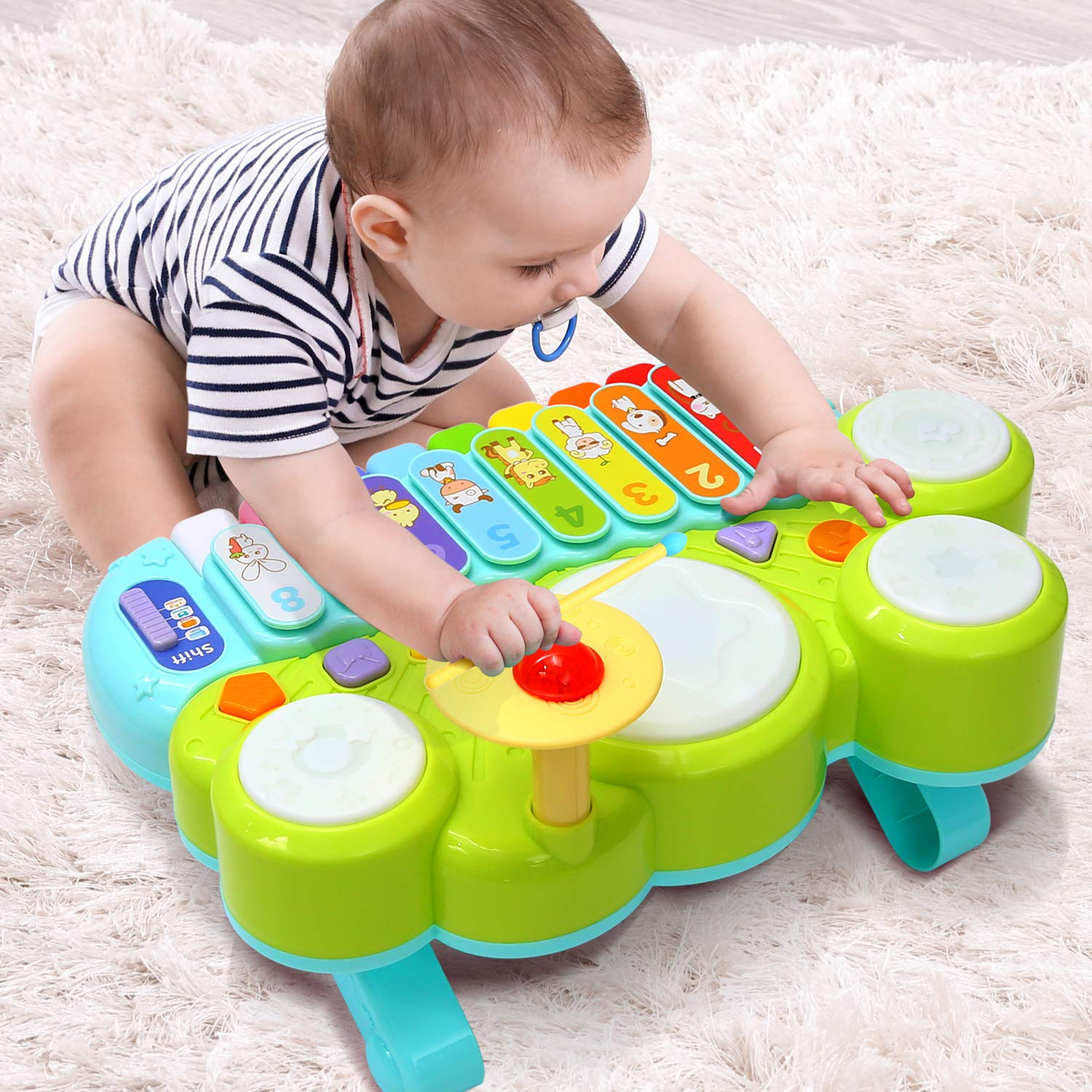 Xylophone Table Music Toys of Ohuhu, Multi-Function Toys Kids Drum Set, Discover & Play Piano Keyboard, Xylophone Set Electronic Learning Toys for Baby Infant Toddler Kids Children Birthday Gifts by Ohuhu