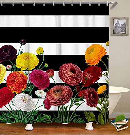 Livilan Black White Stripes Shower Curtain Set With 12 Hooks Retro Red Flowers Decorative Fabric Bathroom