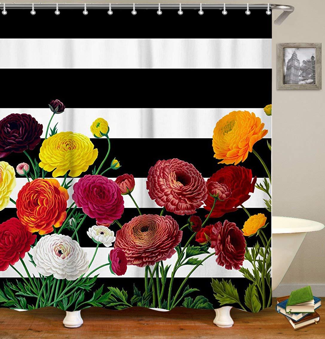 Livilan Waterproof Fabric Shower Curtain Set 70.8'' x 70.8'' Retro Red Flowers & Black White Stripes Pattern Decorative Thick Bathroom Curtain