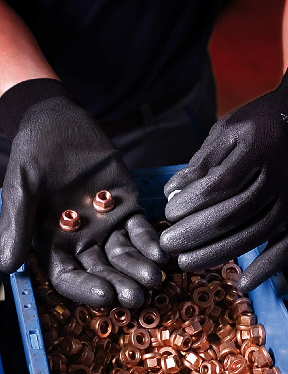 Ansell HyFlex 48-101  Gants de travail en Nylon R/ésistance /à l/'Abrasion Gant de Protection M/écanique /à Usages Multiples Noirs Taille 6 12 paires
