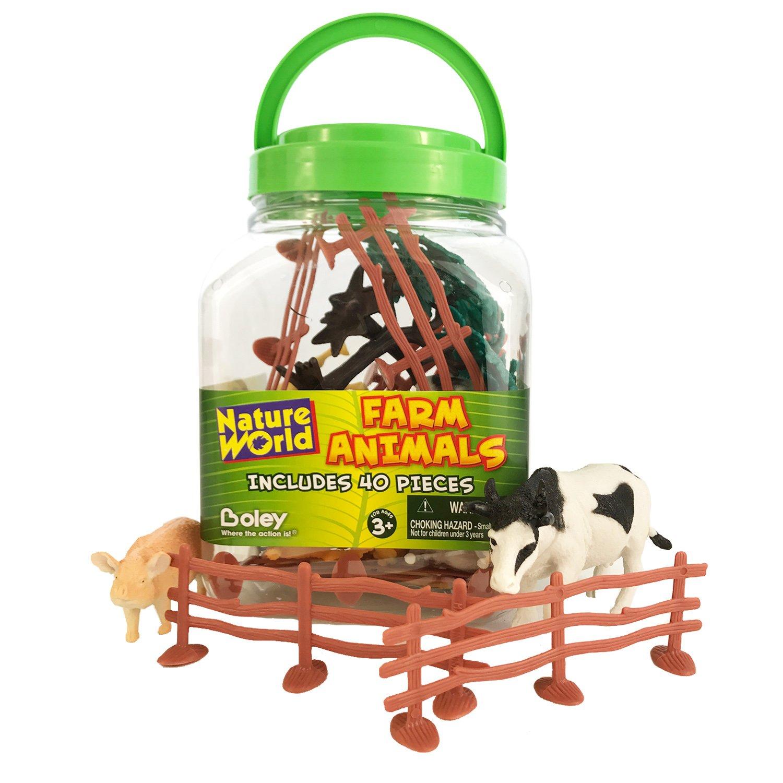 Amazon Boley Small Bucket Farm Animal Toys 40 piece farm