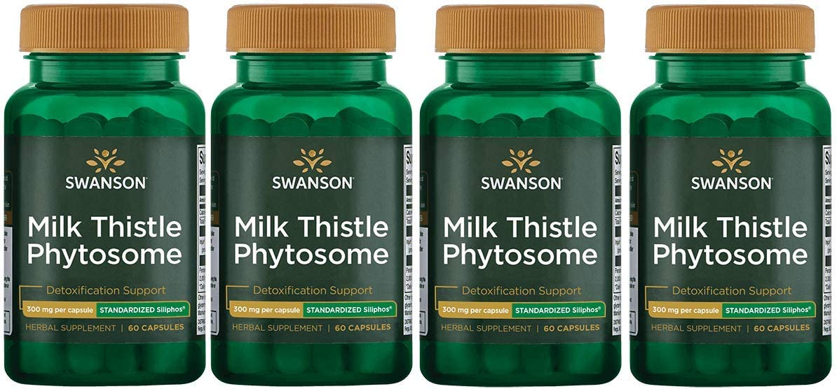 Swanson Milk Thistle Phytosome – Standardized Siliphos 300 mg 60 Caps 4 Pack
