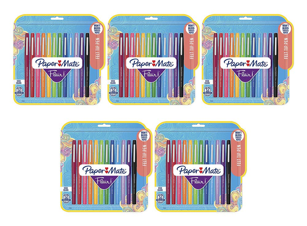 Flair Felt Tip Pens, Medium Point (0.7mm), Assorted Colors, 12 Count