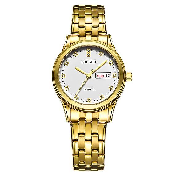 relojes de diamantes de imitación de la moda de metal de cuarzo dorado de las nuevas mujeres delicadas generales reloj con calendario de la fecha: ...