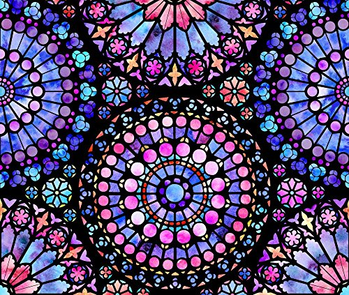 Stained Glass Fabric - Painted Rose Windows (Purple And Red - Large) - Designed By Logan_Spector - Fabric Printed By Spoonflower On Kona Cotton Ultra Fabric By The Yard - Stained Glass Fabric