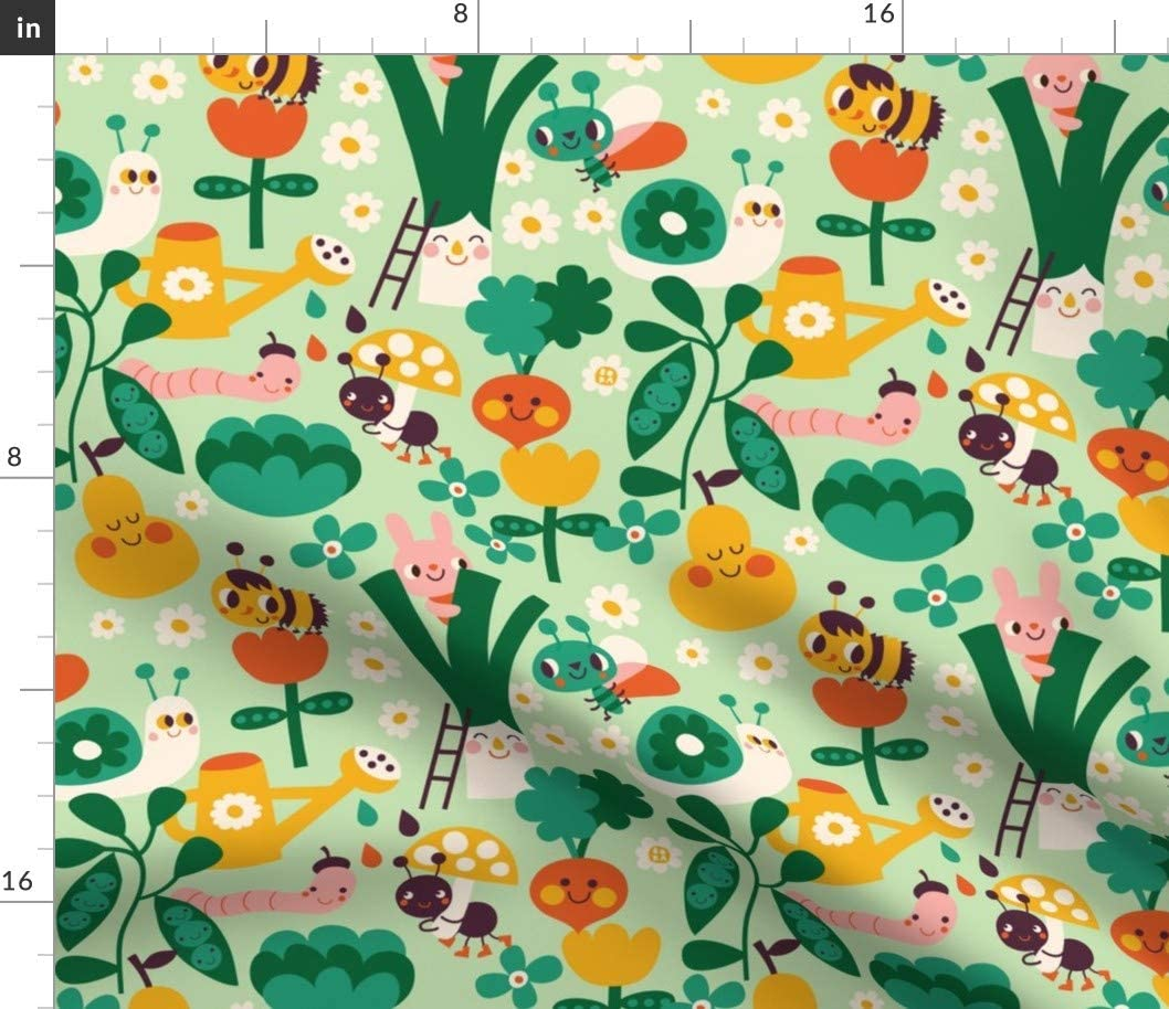 Spoonflower Fabric - Garden Vegetable Flowers Plant Fruit Plants Insects Kawaii Printed on Minky Fabric by The Yard - Sewing Baby Blankets Quilt Backing Plush Toys