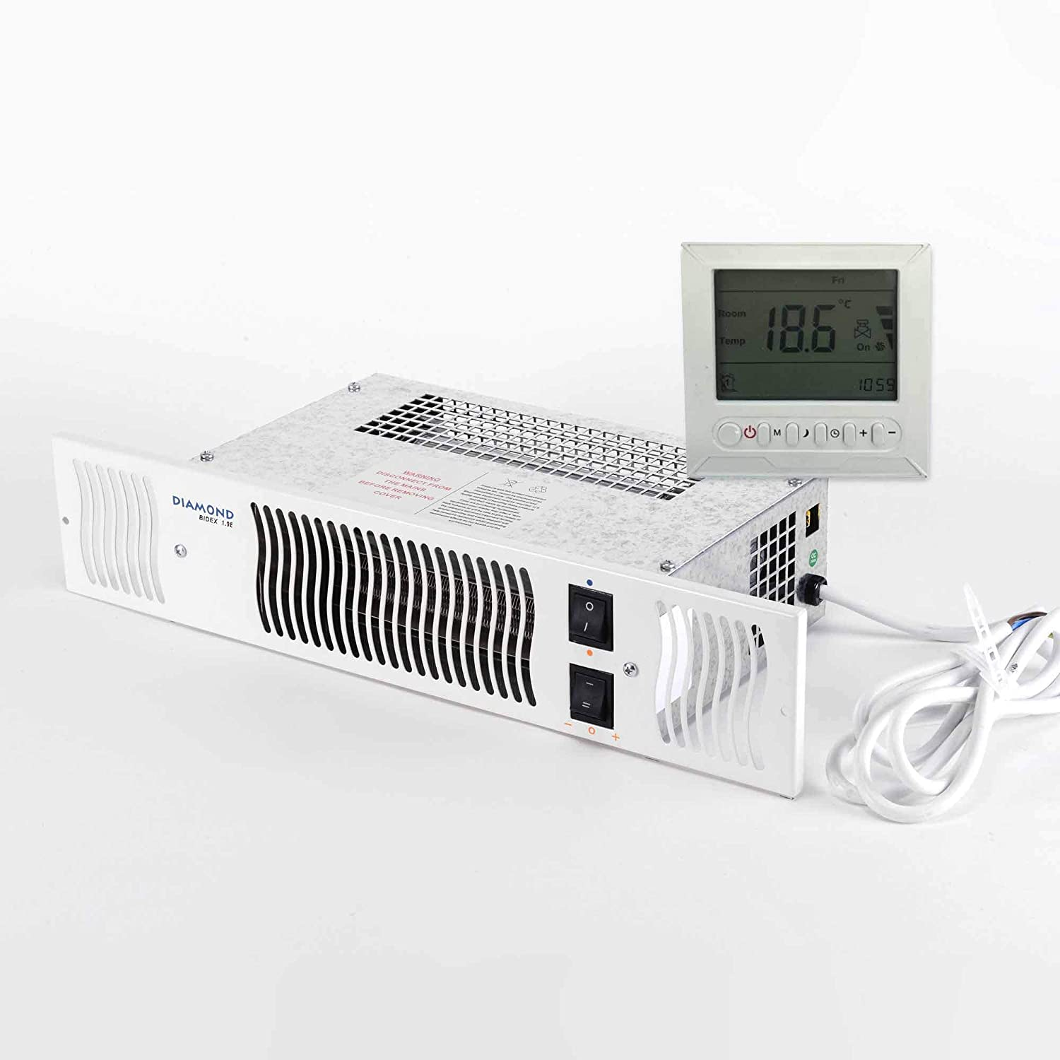 Diamond 1.9kw Electric Kitchen Plinth Heater with Room Thermostat & Timer - White Grill