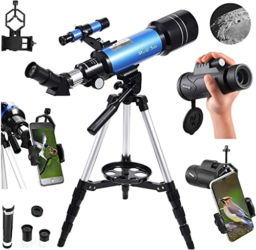 MaxUSee 70mm Refractor Telescope with Adjustable Tripod for Kids Adults Beginners Portable 10X42 HD Monocular Bak4 Prism FMC Lens, Travel Scope with Backpack and Phone Adapter