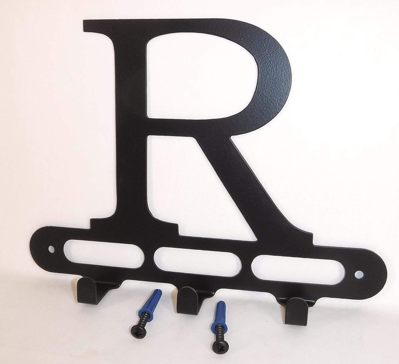 Screws Included. Solid Steel Satin Black Capital Letter R Monogram Wall Hook Hanger