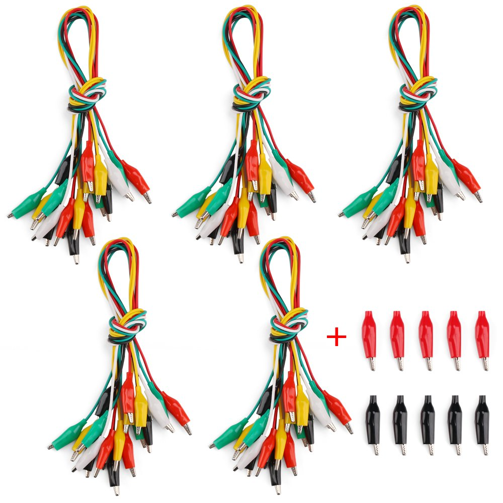 RilexAwhile 50PCS Test Leads Set with Alligator Clips 5 Colors 52cm/20.5 Inch Double-end Jumper Wire and 10 PCS Medium Black Red Alligator Clips