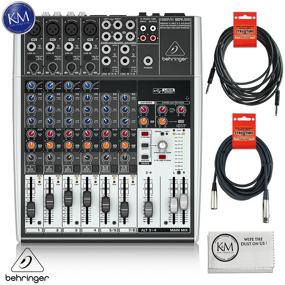 Behringer XENYX 1204USB - 12 Input USB Audio Mixer + 1 x 20ft Structure XLR Cable + 1 x 18.6 ft Strukture Instrument Cable + K&M Micro Fiber Cloth Bundle