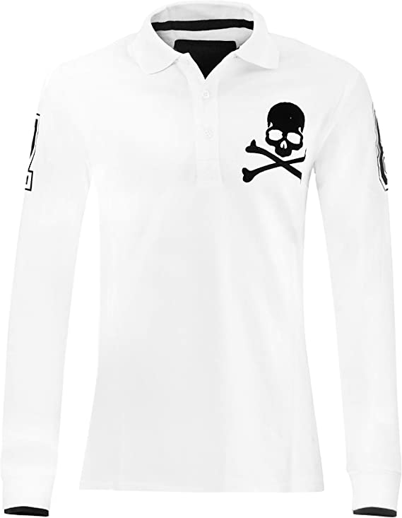 Philipp Plein Camiseta Top Polo Manga Larga Negro Cráneo Blanco ...