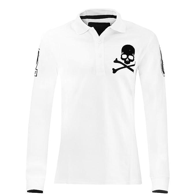 Philipp Plein Camiseta Top Polo Manga Larga Negro Cráneo Blanco ...