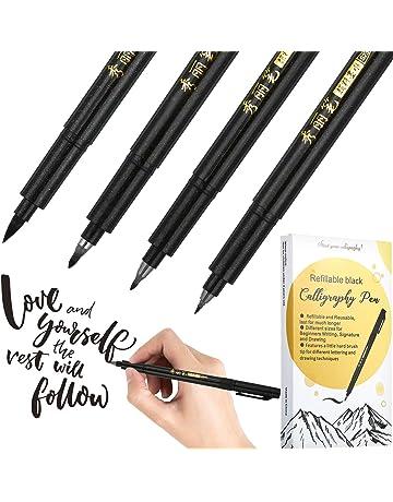 4 Tailles Noir Brosse Marqueur Stylo Set 4 Recharge Brosse Calligraphie Stylo pour lettrage
