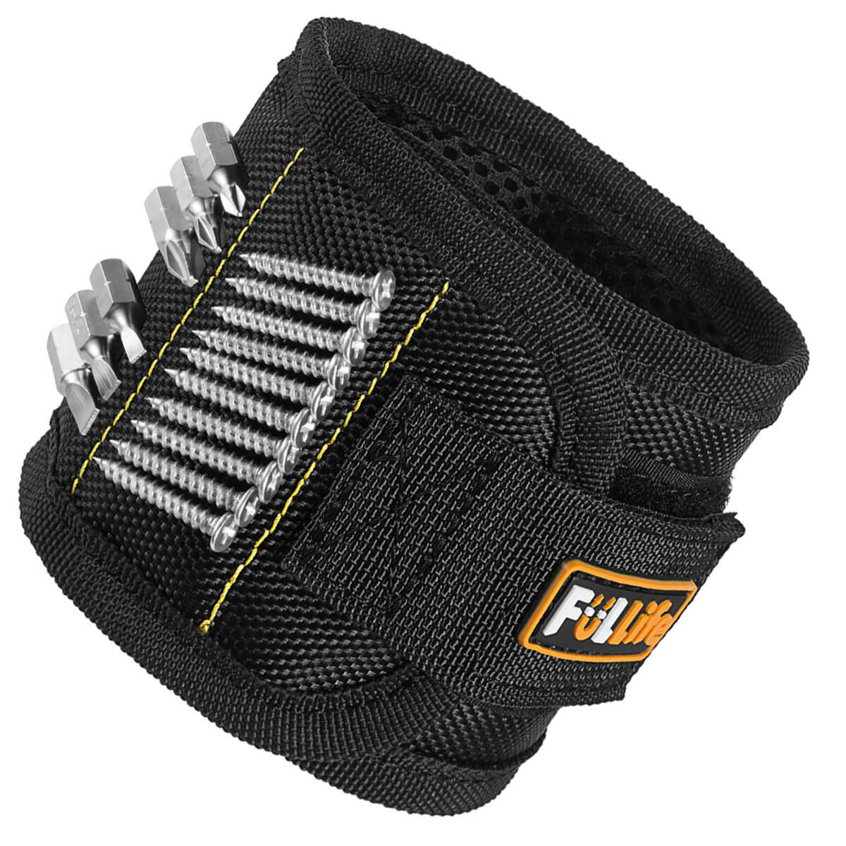 Magnetic Wristband, Fullife Super Strong Magnets for Holding Screws Drill Bits and Small Metal Tools for Men