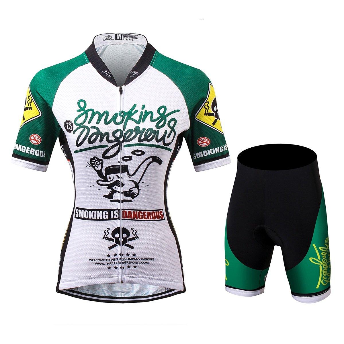 Thriller Rider Sports® Damen Smoking is Dangerous Sport & Freizeit MTB Fahrradbekleidung Radtrikot 4 Farbes